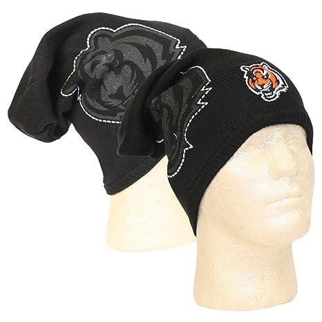Reebok Cincinnati Bengals 2010 Black Player Sideline Cuffless Skull Cap -  NFL Long Knit Slouch Beanie 6a6a3752dea2