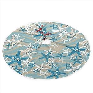 "Christmas Tree Skirt Starfish 35.5"" Tree Skirt for Xmas Decor Festive Holiday Decoration"