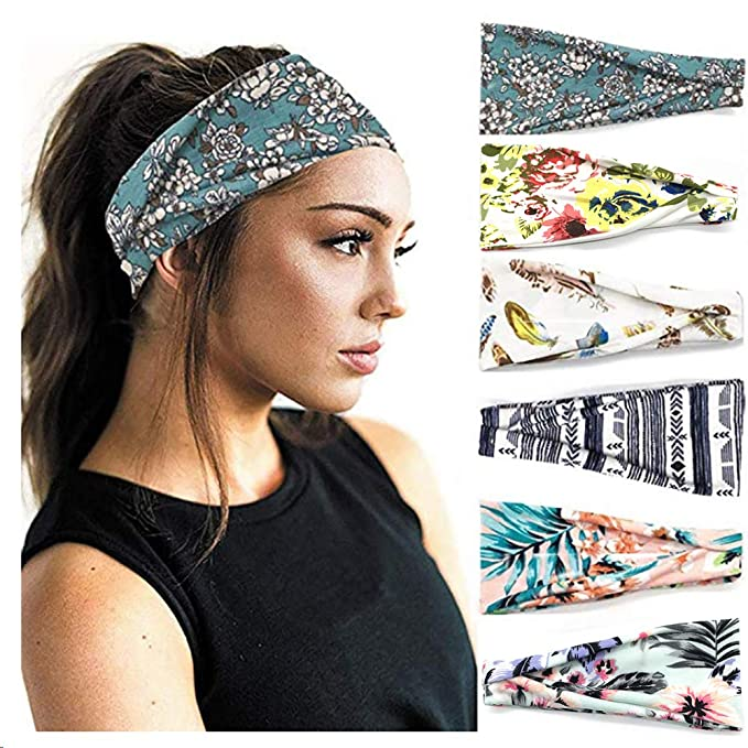 Women Elastic Pleated Hair Band Wide Yoga Headband Running Head Wrap Multicolor