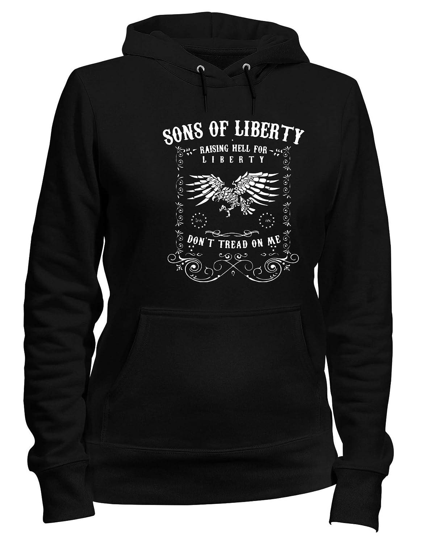 Felpa Donna Cappuccio Nero TM0636 Raising Hell for Liberty Dont Tread ON Me