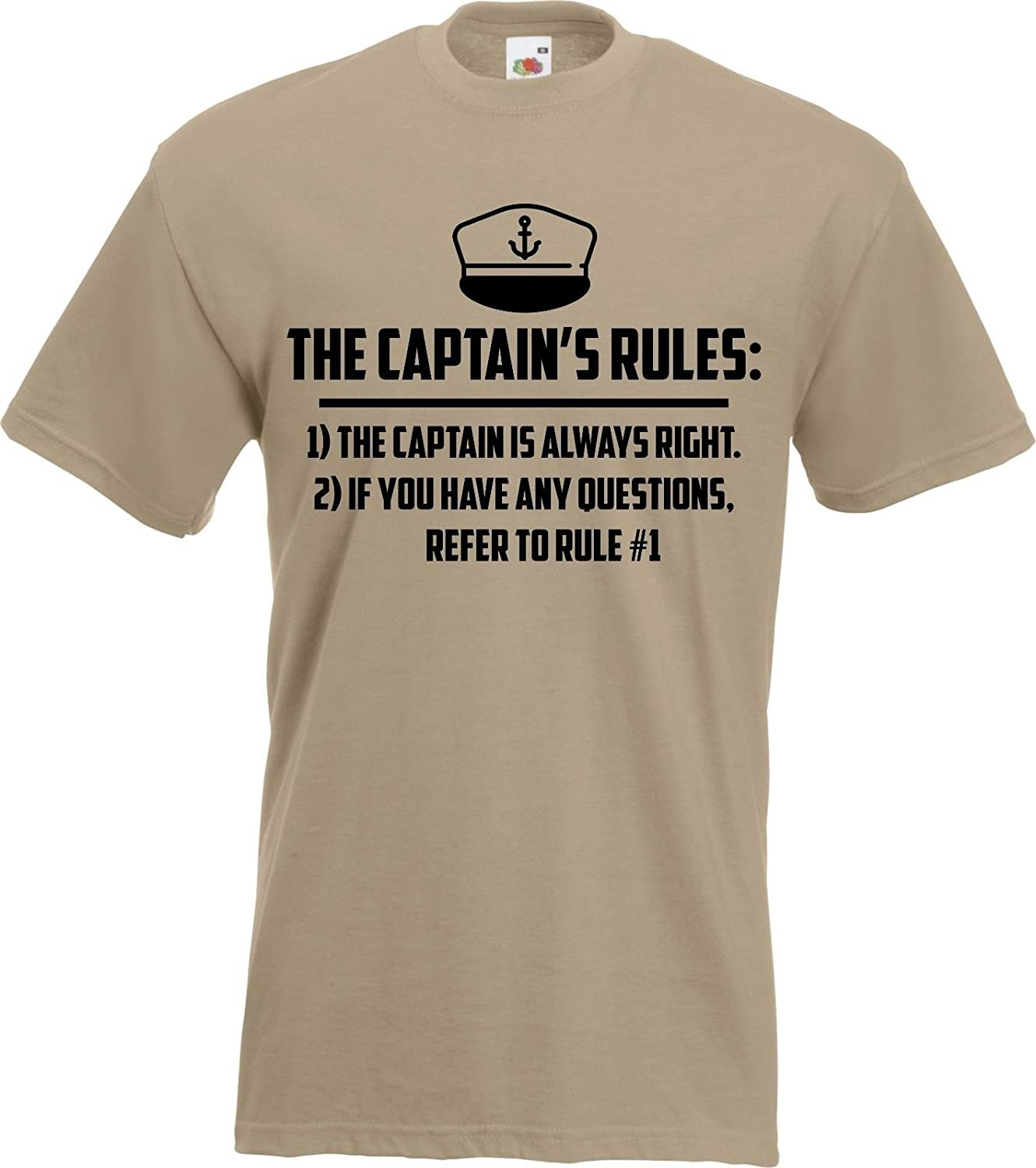 bde19c0a Captain Rules Funny Boat Skipper Sailing T-Shirt Gift Boating Yacht:  Amazon.co.uk: Clothing