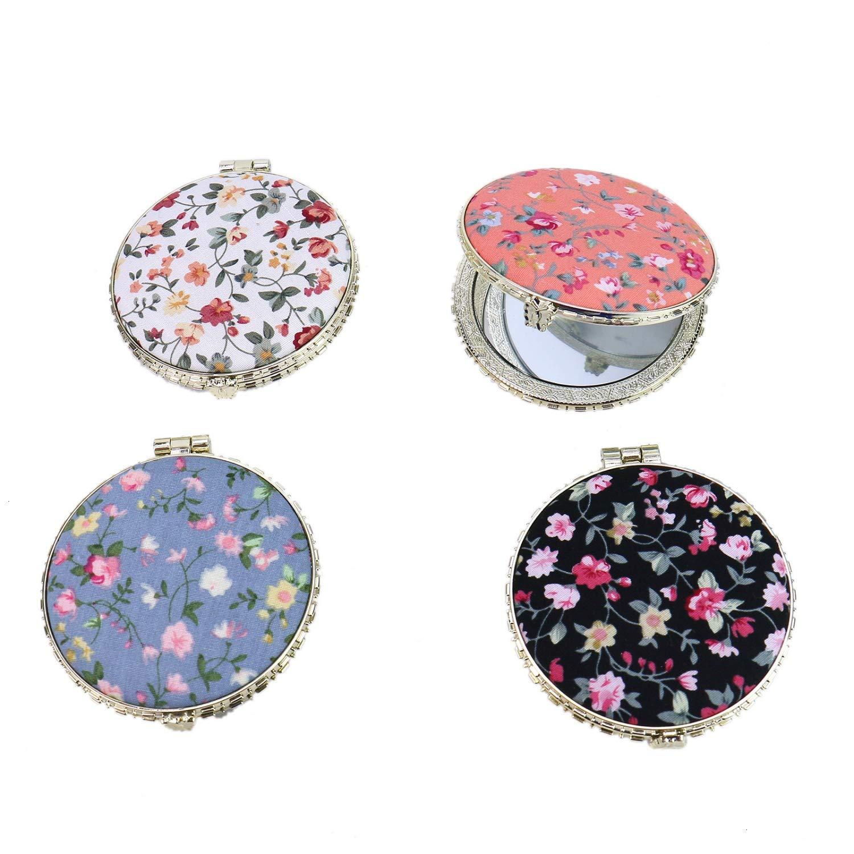 Monrocco Set of 4 Retro Floral Makeup Mirror for Handbag, Folding Compact Travel Pocket Beauty Makeup Mirror
