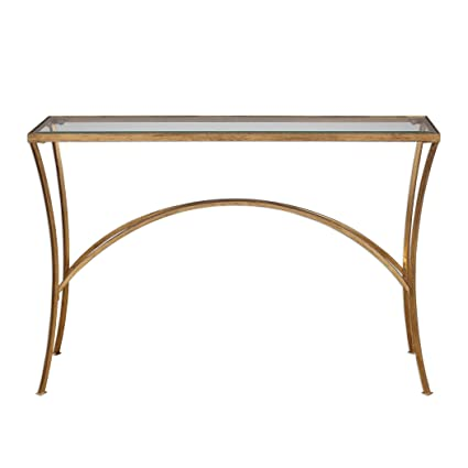 Amazon Com Minimalist Gold Arch Console Table Metal Glass Top