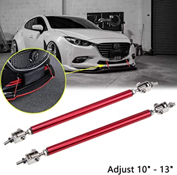2Pcs Adjustable Front Bumper Lip Splitter Strut Brace Rod Support Bars Tool Set