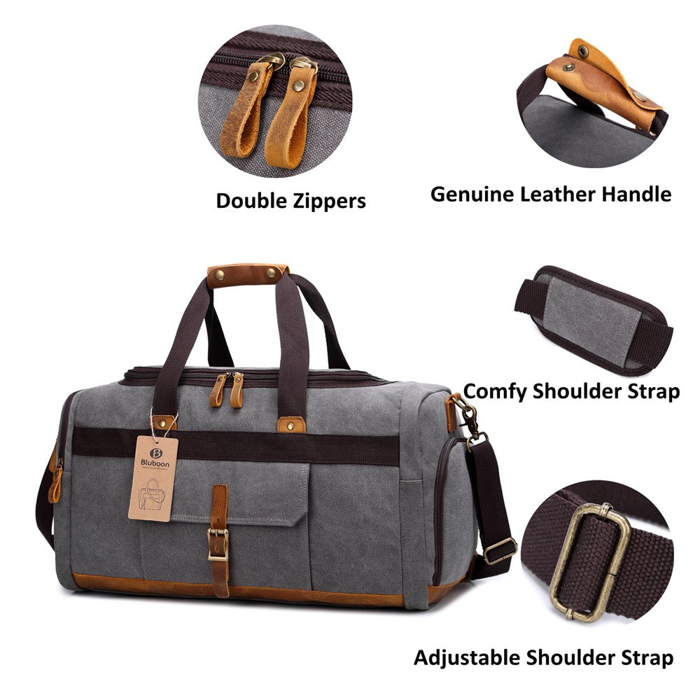 Weekender Overnight Duffel Bag Shoe Pocket for Women Men Weekend Travel Tote Carry On Bag Stripe Black White 2cm