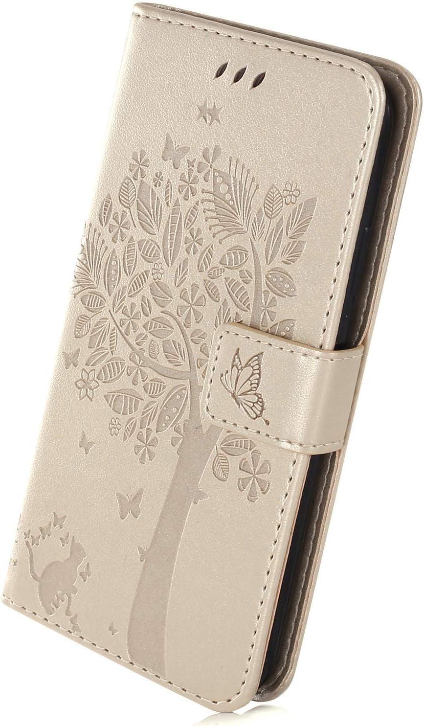 Gold Herbests Kompatibel mit Huawei Mate 20 Lite H/ülle Handyh/ülle Wallet Flip Case Cover Handy-Tasche Pr/ägung Baum Katze Schmetterling Leder H/ülle Tasche Schutzh/ülle Magnetisch Klapph/ülle