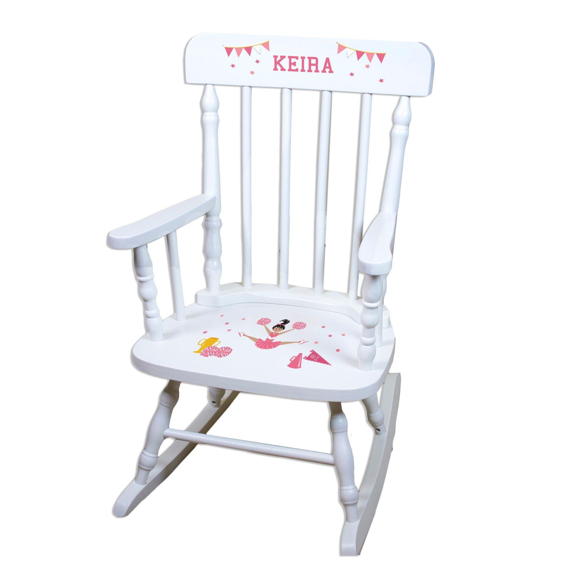 MyBambino Personalized Cheerleader Black Hair Pink White Wooden Childrens Rocking Chair