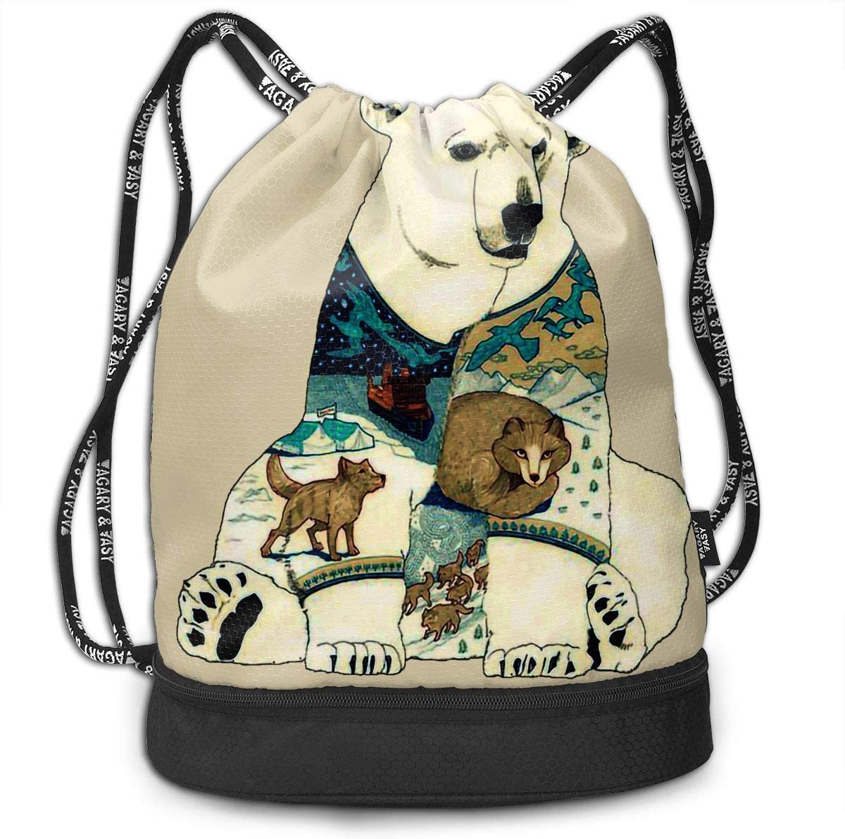 Drawstring Backpack Polar Bear Shoulder Bags