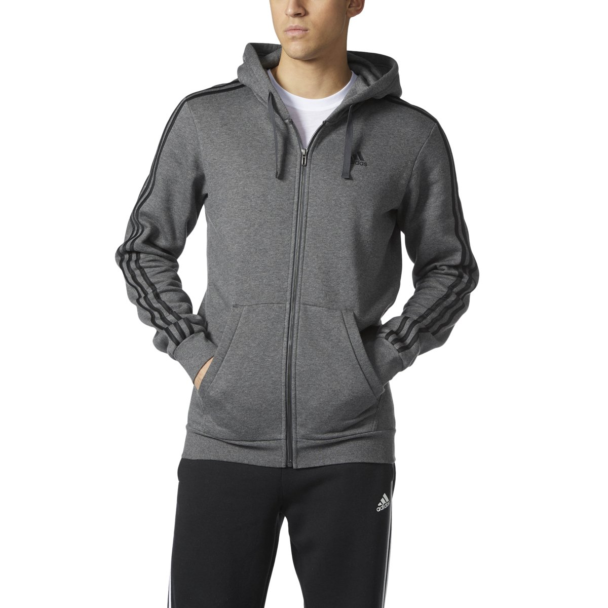 adidas Men's Athletics Essential Cotton 3 Stripe Full Zip Hoody, Dark Grey Heather/Black, 4X-Large