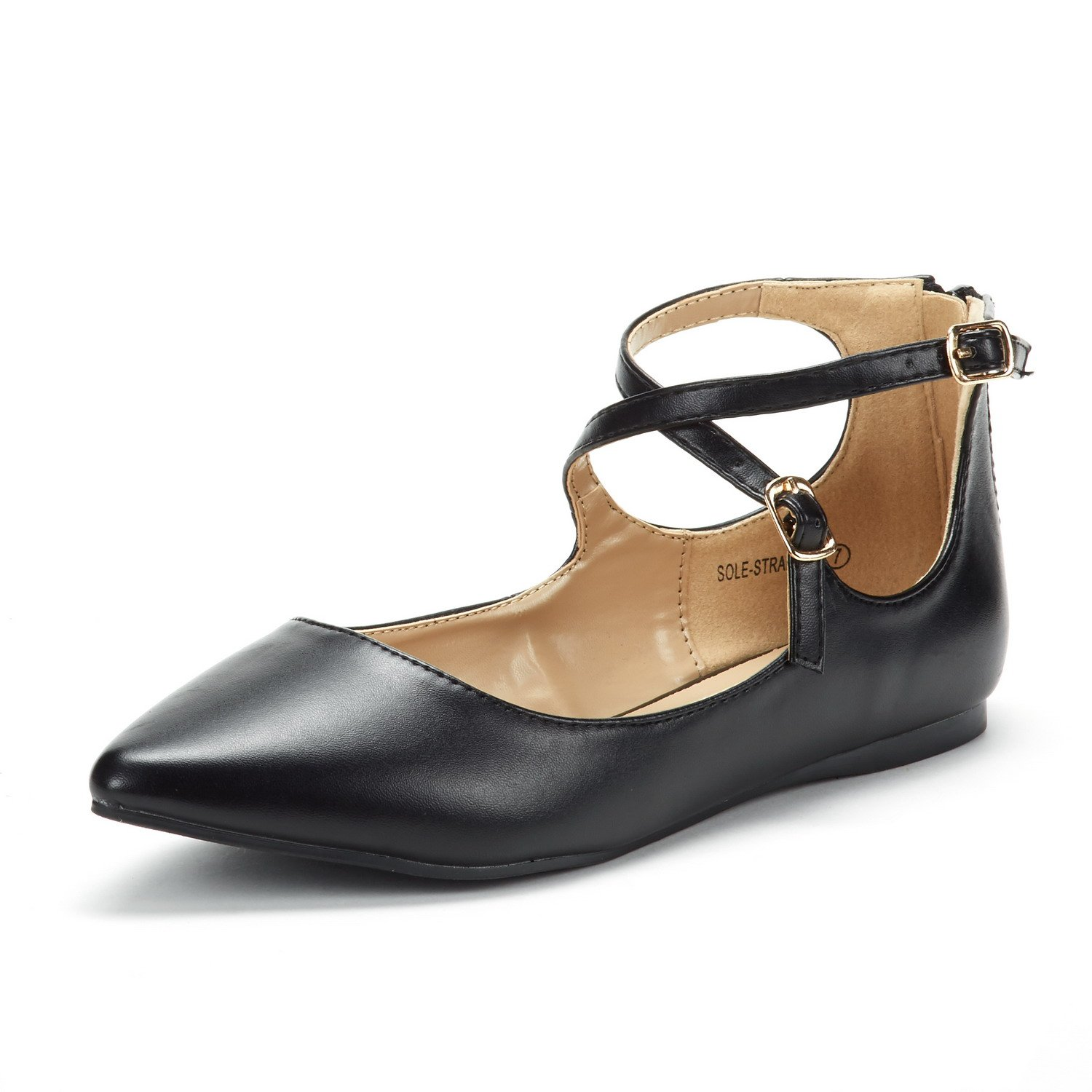 DREAM PAIRS Women's Sole-Strappy Black Pu Ankle Straps Flats Shoes - 8 M US