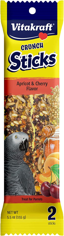 Vitakraft Parrot Treat Sticks - Apricot And Cherry - 5.5Oz
