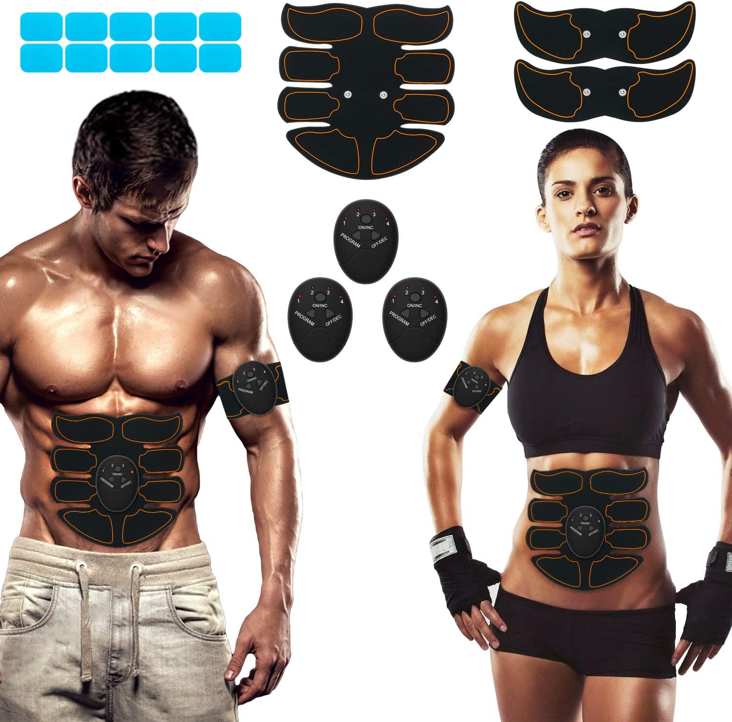 SPORTLIMIT Abs Stimulator, Wireless Portable Fitness Workout Equipment for Men Woman Abdomen/Arm/Leg Home Office Exercise,10pcs Free Gel Pads