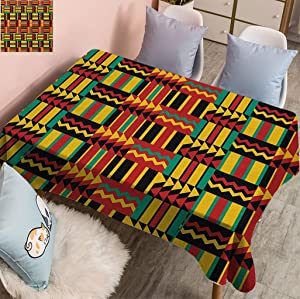 Fogoodecor Kente Pattern Spillproof Rectangle Tablecloth, Exotic Pattern with Stripes Triangles and Zigzags Uganda Zimbabwe Nigeria Fabric Table Cloth for Parties Weddings, 52