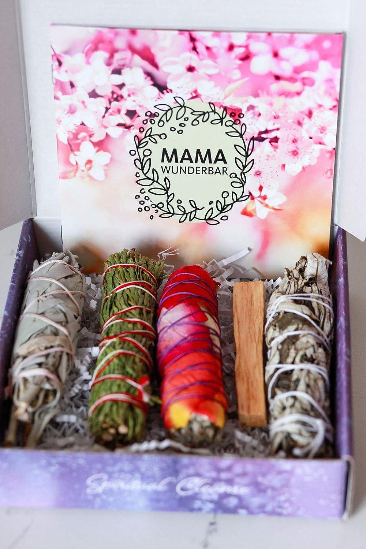 MAMA WUNDERBAR Smudge Kit - White Sage, Cedar, Flower Sage, Yerba Santa,  Palo Santo  Home Cleansing, Blessing, Manifesting, Love