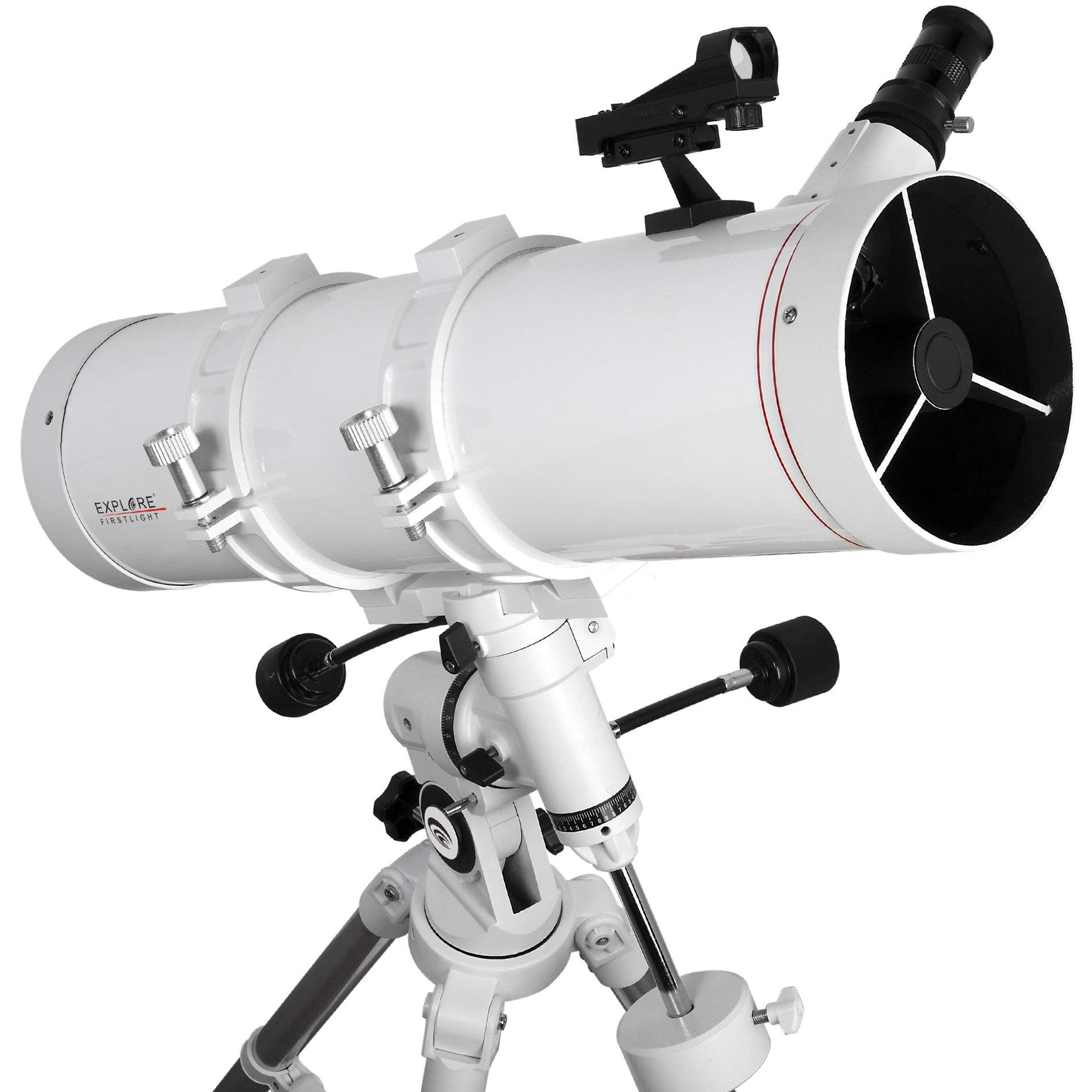 EXPLORE FIRSTLIGHT Telescope- 130mm White Tube Newtonian with 600mm Focal Length f/4.6 Telescope with EXOS Nano EQ3 German Equatorial Mount - FL-N130600EQ3