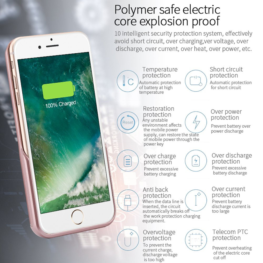 Battery Case Compatible Iphone 7 Plus Pemotech 8200mah Amazonco Circuit Mobile Phone Charger Electronics