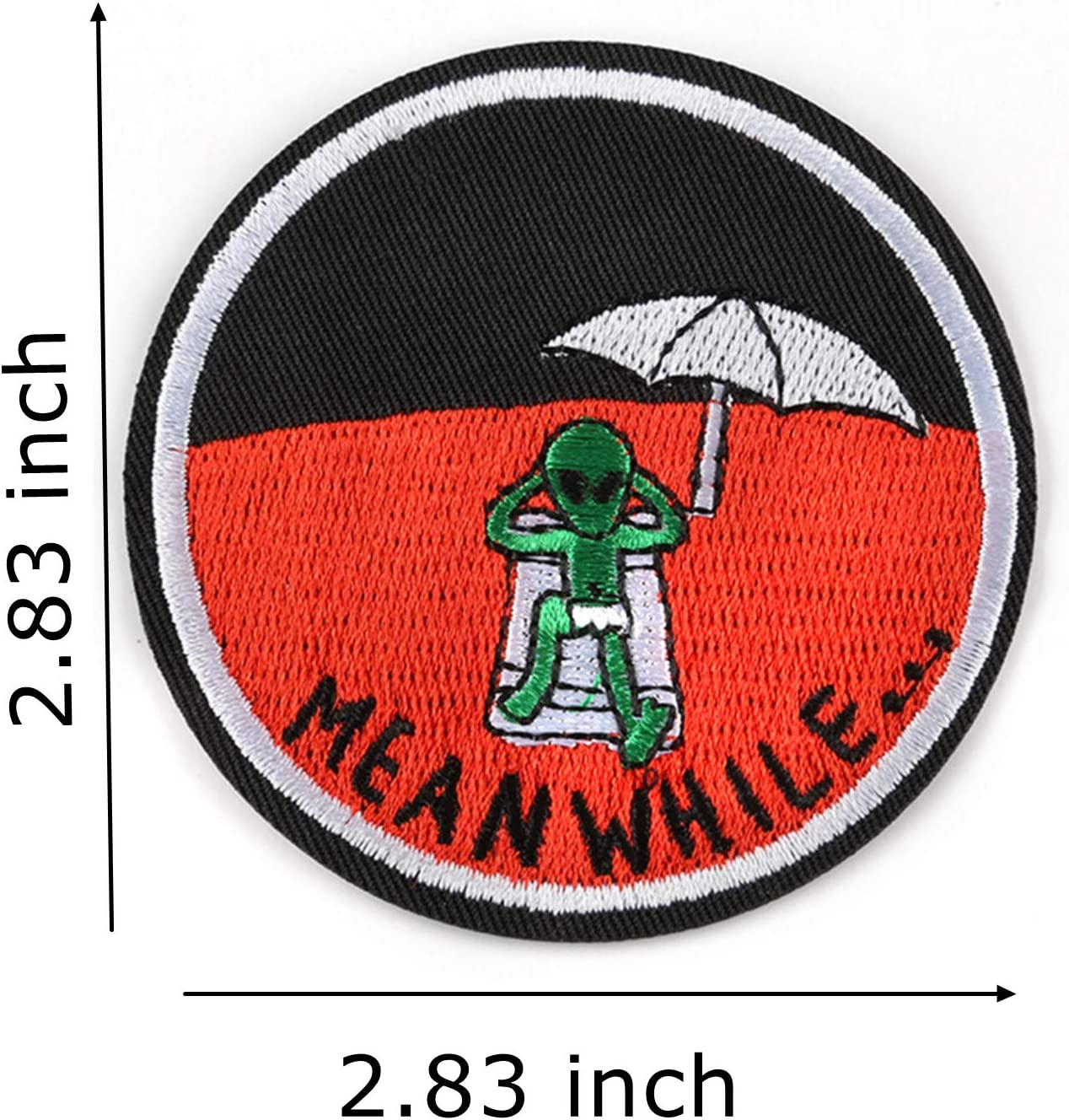 Red Alien Patch Embroidered Applique Iron On Sew On Emblem