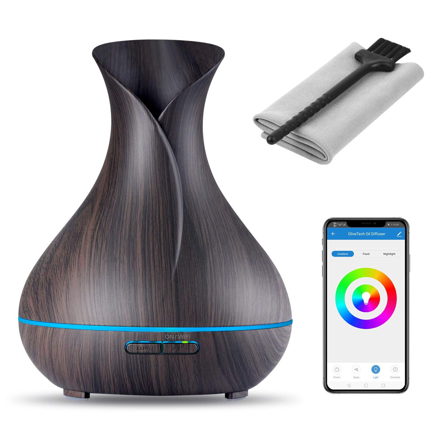 OliveTech Smart WiFi Essential Oil Diffuser,Compatible with Alexa & Google Home,App Control,400ml Dark Wood Grain,Free Cleaning Kit,Color LED Light,Set Schedule/Timer,Auto Shut Off