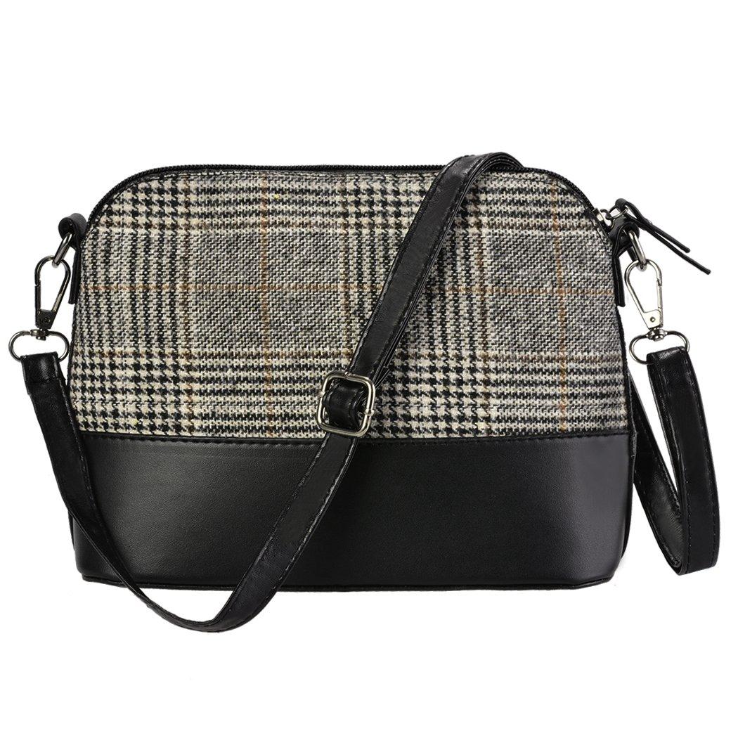 Loveje Women Small Crossbody Bag Vintage Plaid PU Shoulder Bag Messenger Bag (One Size, Gray)