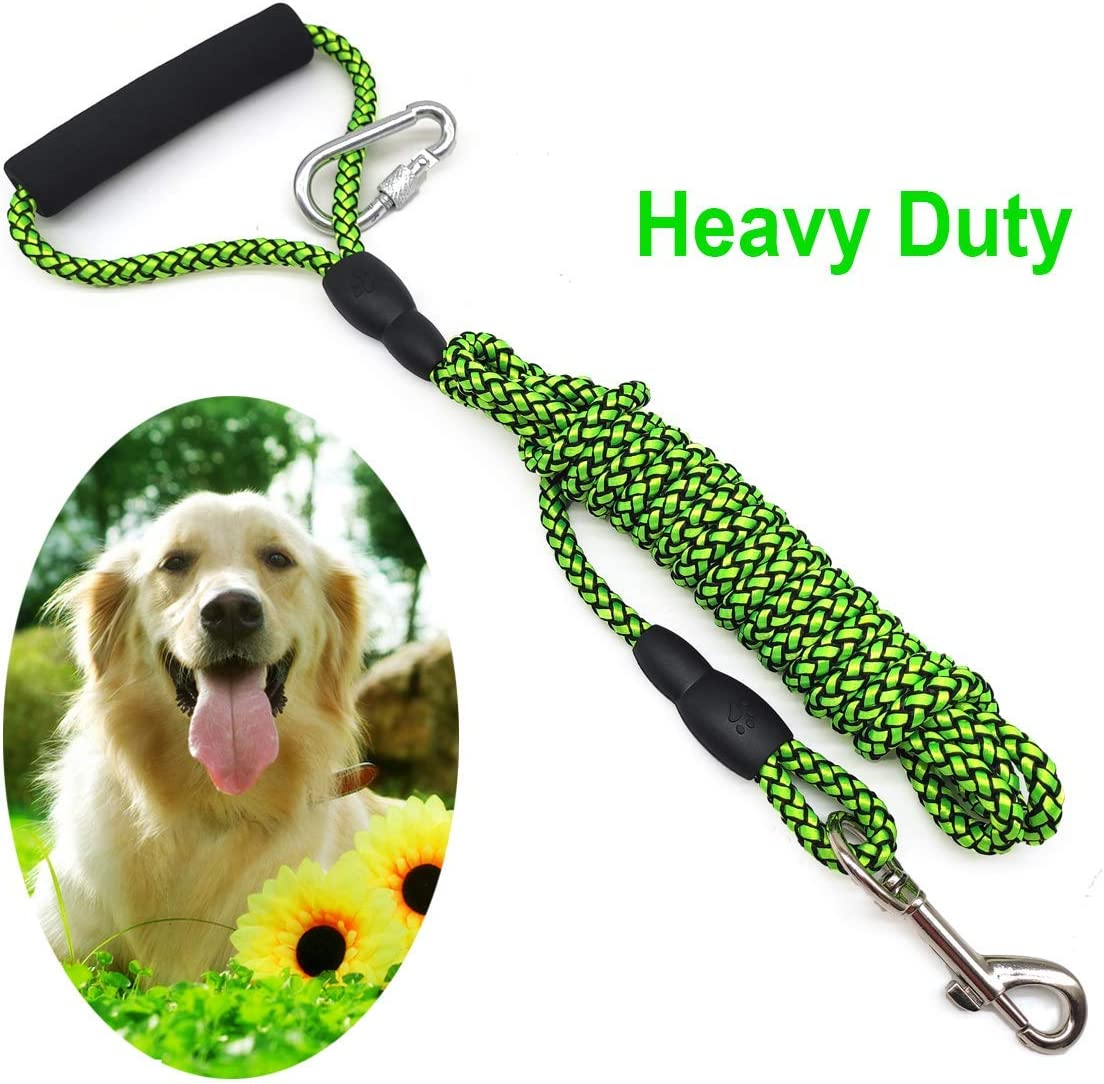 Mycicy 5m 10m 15m Long Dog Lead for Training 30ft*6mm, Purple Rope Nylon Recall Obedience Line with Soft Handle for Small Medium Dogs play camping Backyard