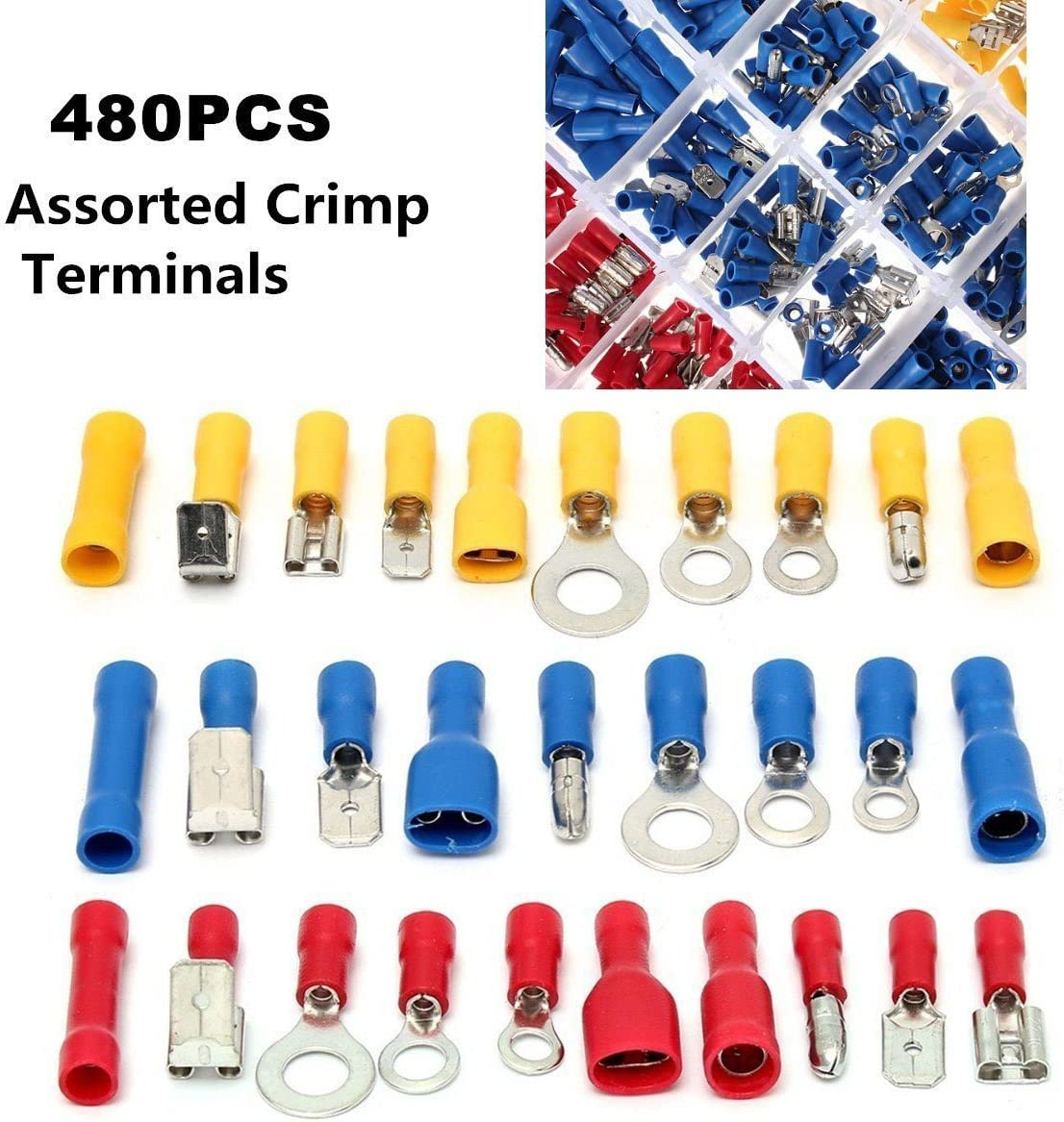 1000 BUTT CONNECTORS VINYL ALL SIZES ASSORTMENT ELECTRICAL TERMINAL MADE IN USA