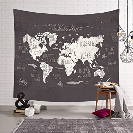 Amazon kiber tapestry wall hanging tapestries world map gold kiber tapestry wall hanging tapestries world map gold large tapestry wall decoration for bedroom living room gumiabroncs Image collections