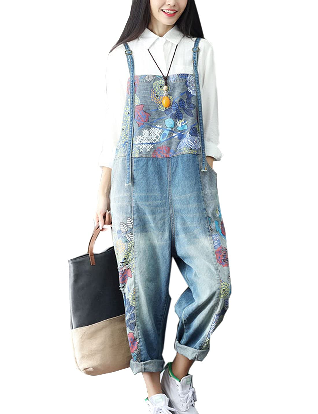 Flygo Women's Fashion Printed Drop Crotch Denim Bib Overalls Jumpsuits Harem Pants Blue)