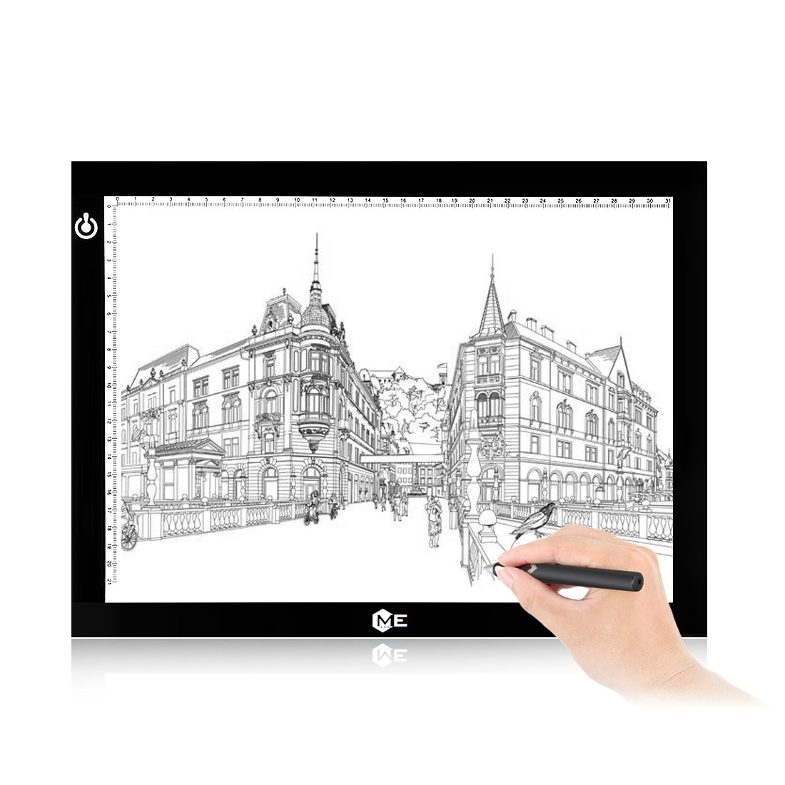 Dimmable A4 LED Tracer Light Box Slim Light Pad, ME456 USB Power Drawing Copy Board Tattoo Tracing LED Light Table for Artists Designing, Animation, Sketching, Stenciling (Black) by ME456 (Image #8)