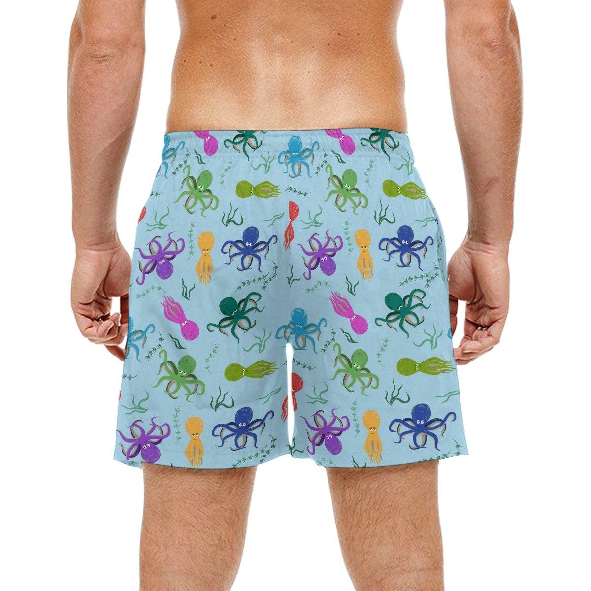LORVIES Mens Octopus Pattern Beach Board Shorts Quick Dry Swim Trunk