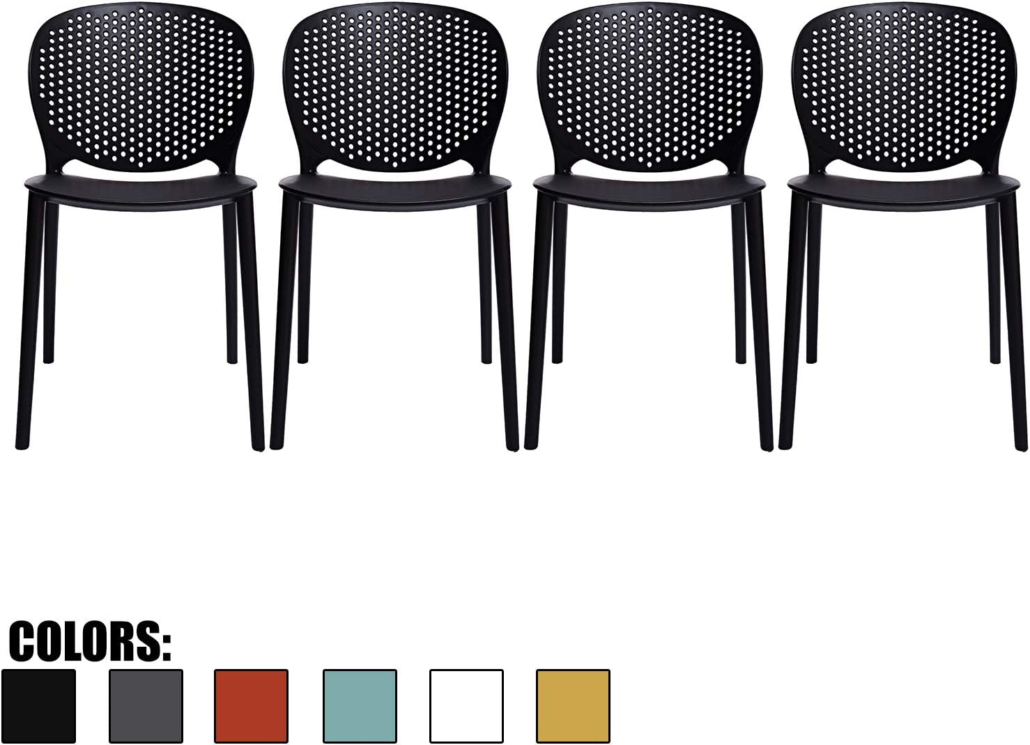 2xhome Set of 4 Dark Black Contemporary Modern Stackable Assembled Plastic Chair Molded with Back Armless Side Matte for Dining Room Outdoor Garden Patio Balcony Work Office Desk Kitchen