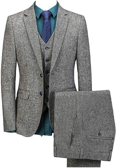 Amazon Com Hombres Gris De Algodón De Lino De Un Solo Pecho Blazer Slim Fit Chaqueta De Boda Novios Trajes Formales Chaqueta Chaleco Pantalones Clothing