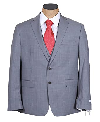 Calvin Klein Mens Gray Plaid 3 Piece Extreme Slim Fit Wool Suit ...