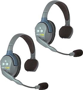 Eartec UL2S UltraLITE Full Duplex Wireless Headset Communication for 2 Users - 2 Single Ear Headsets