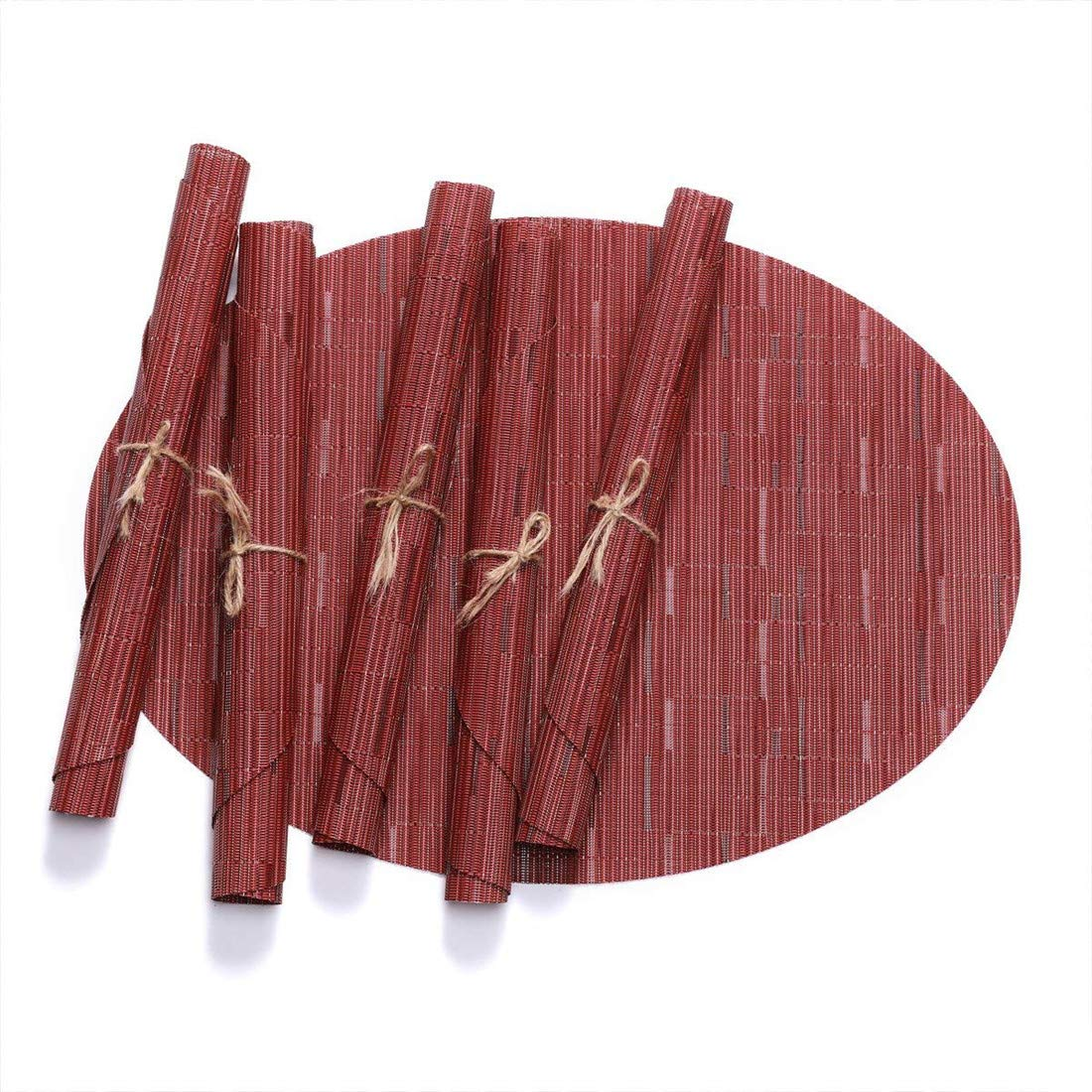 LANDZOON Woven Oval Table Placemats PVC Tablemats Non-Slip Washable Woven Vinyl Bamboo Heat-Resistant Tablemat Set(6 pcs) (Brown)