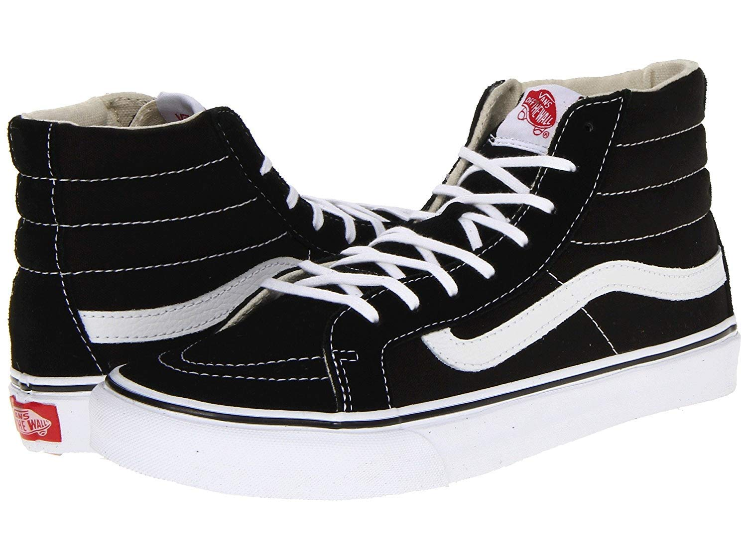 78b7cab095f33 Galleon - Vans Unisex Sk8-Hi Slim Skate Shoe Black/White 5 D(M) US