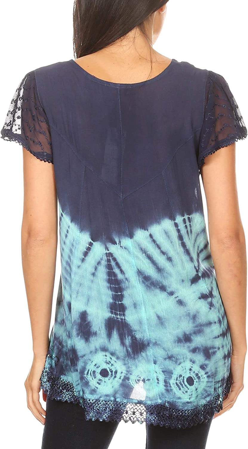 Sakkas Josea Relaxed Fit Tie Dye Embroidered Crepe Cap Sleeve Blouse | Cover Up 19777-navymint