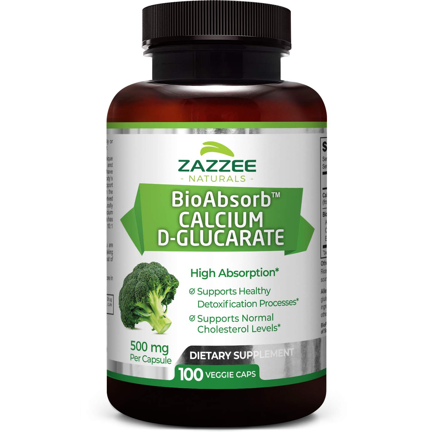 Zazzee Calcium D-Glucarate, 100 Vegan Capsules, 500 mg per Capsule, Contains 3 mg BioPerine for Enhanced Absorption, Plus Pure Broccoli Extract, Vegan, Non-GMO and All-Natural
