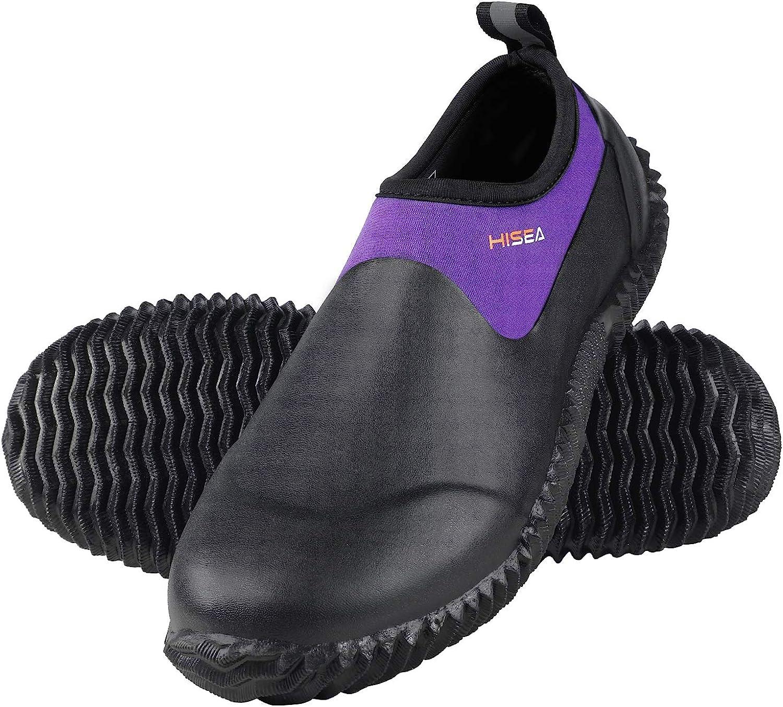 HISEA Unisex Rain Shoes Waterproof Rubber Garden Shoes Slip-on Muck Mud Ankle Rain Boots for Women Men with Comfortable Anti-slip Outsole