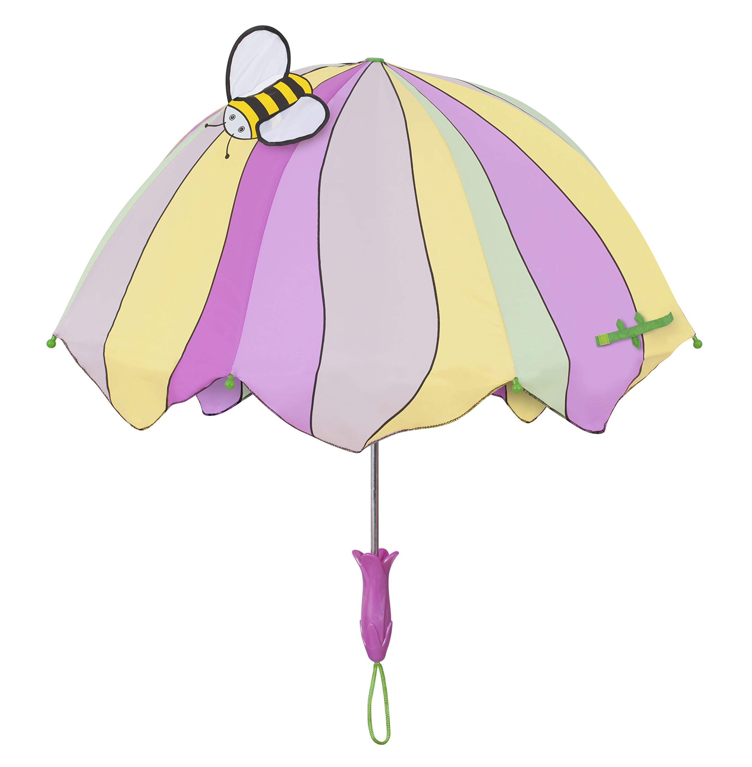 Kidorable Lotus Flower Pink/Yellow Umbrella for Girls w/Fun Flower Handle, Pop-Up Bee Wing, 1 Size