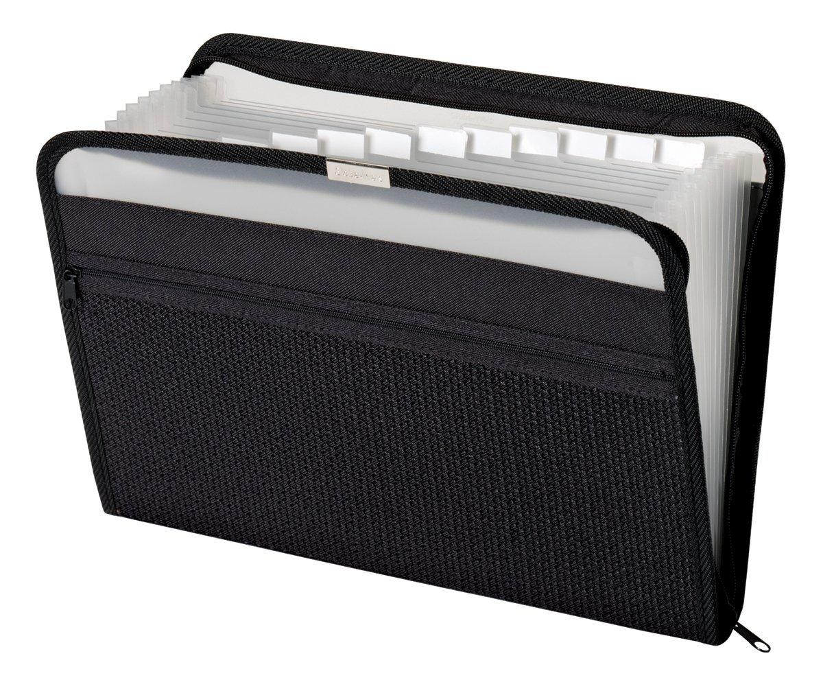 Globe-Weis/Pendaflex 13-Pocket Fabric Expanding Zip File, Letter Size, Pack of 6, Black (84087BLK)