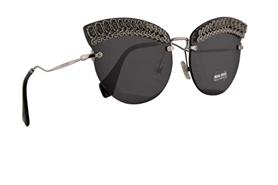 1cbb9ab198bc Image Unavailable. Image not available for. Color  Miu Miu MU58TS Sunglasses  Silver w Grey ...