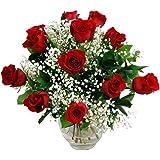 Clare Florist 12 Luxury Red Rose Fresh Flower Bouquet - Premium Romantic Flowers