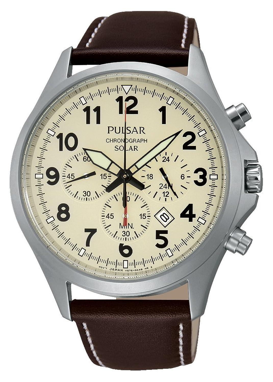 Pulsar Herren-Armbanduhr XL Solar Chronograph Quarz Leder PX5005X1