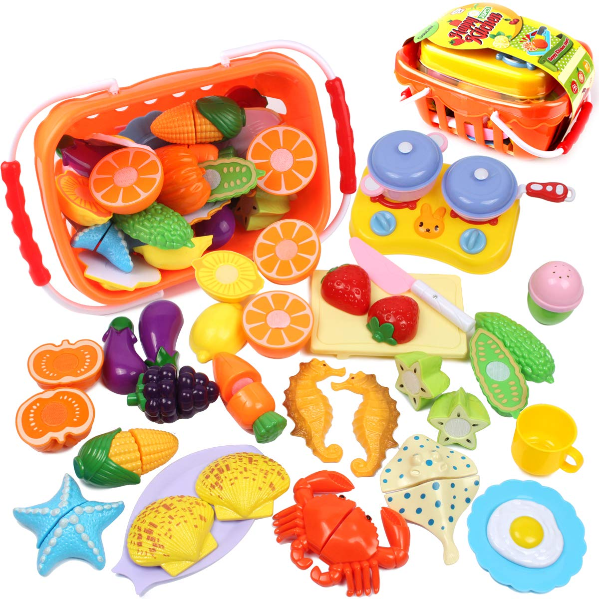 22 Pcs Food Sliceable Fruit Vegetable Cutting Kids Pretend Play Educational Kitchen Cooking House Toy Safe Learning Resources Electric Vehicle Parts