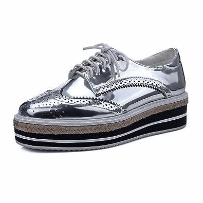 1a2c5b03c718 MINIVOG Platform Wingtips Square Toe Women Oxfords Shoe Silver 4.5