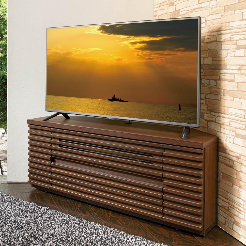 隠しキャスター付き天然木格子コーナーテレビ台幅120cm(隠しキャスター付き) 691415(サイズはありません ア:ダークブラウン) B07MNWNMCC ア:ダークブラウン