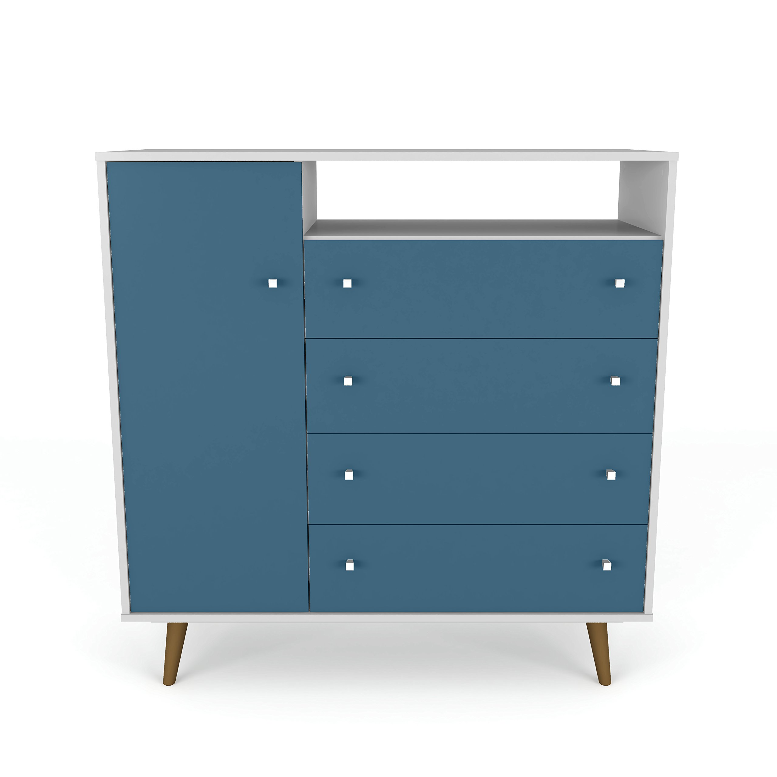 Manhattan Comfort 210BMC63 Liberty Modern Bedroom Armoire and TV Stand, White/Aqua Blue