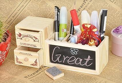 Caja organizadora de madera para lápices con pizarra y cajones: Amazon.es: Oficina y papelería