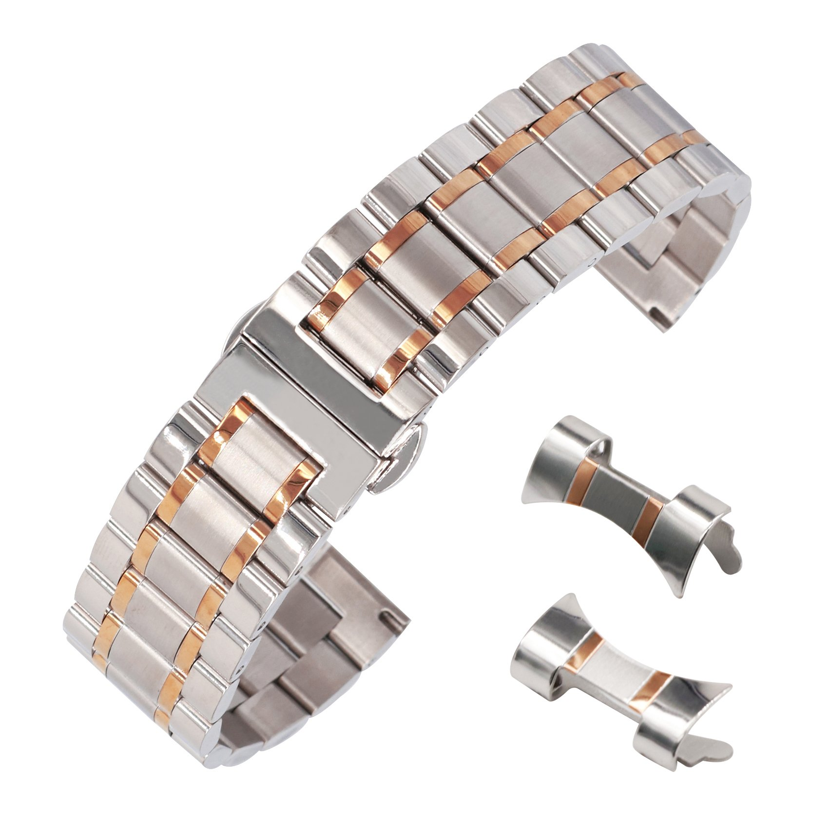 14mm Fantasy Stainless Steel Smart Watch Band Bracelet Metal Deployant Clasp Two Tone Silver&Rose Gold
