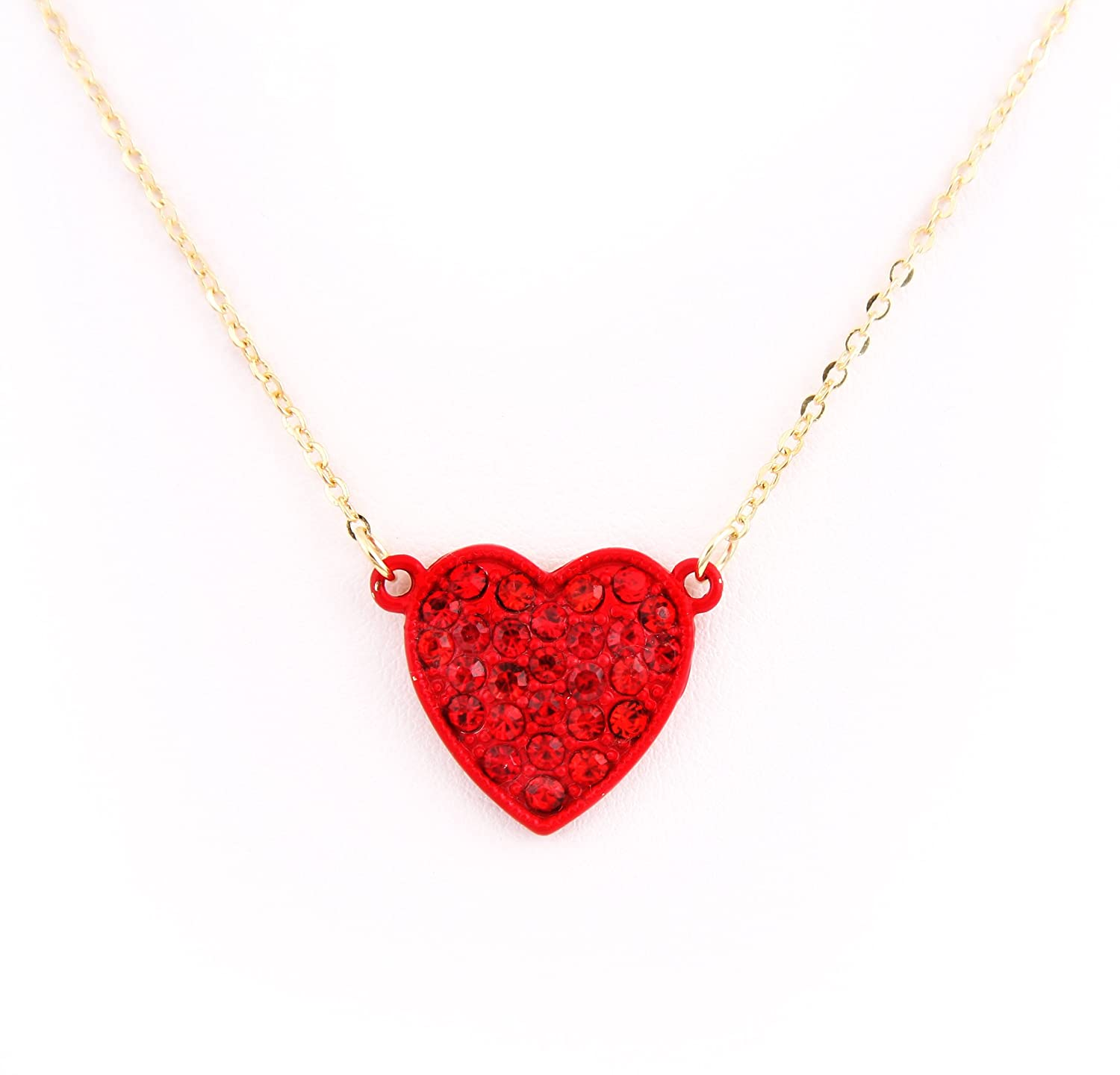 FN-5419 Crytsal Pave Pave Heart Pendant Valentine Necklace RED